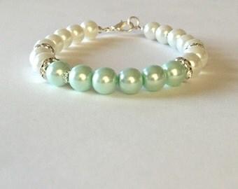Mint Green and White Pearl Rhinestone Bracelet