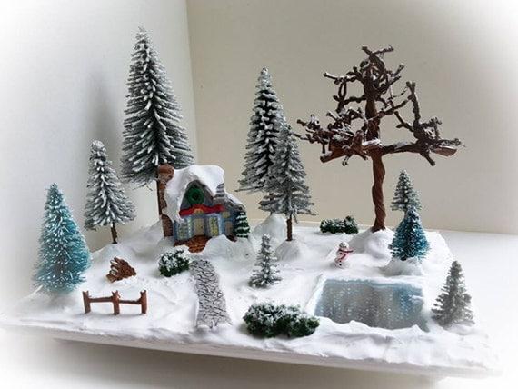 Sc ne de village de no l miniature vignette miniature de - Decoration pour village de noel ...