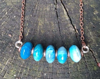 Gradient Blue Agate bead bar necklace, copper, sterling