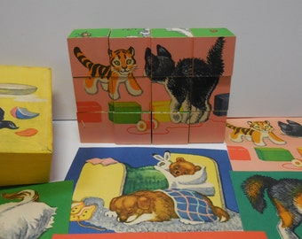 Vintage Wood block Puzzle Childrens Cubes 6 images Pets Dogs Puppy Cat kittens