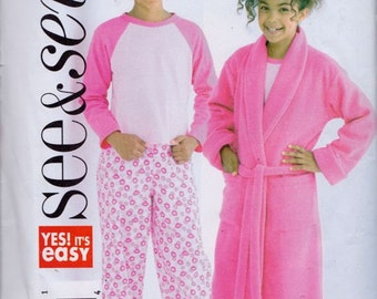Butterick See and Sew B4322 Girl's Robe, Top and Pants Pattern, UNCUT, Size 7-8-10, Full Length Robe, Pajamas, Sleep Wear, 2004