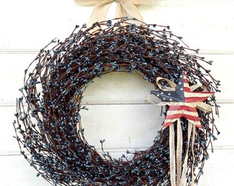 Summer Wreath-4th of July Wreath-AMERICANA DOOR WREATH-Patriotic Wreath-Military Door Decor-Star Wreath-Scented Wreaths-Holiday Home Decor