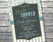 Baby Shower Invitation Shabby Chic Chalkboard PRINTABLE INVITATION - Its a Boy Invitation - Boy Baby Shower - Shabby Chic Decorations