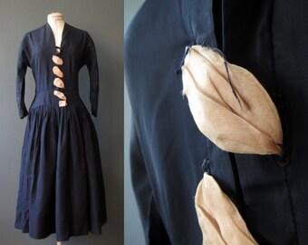 50s Midnight Blue Dolman Sleeve Gathered Skirt Dress Small Medium