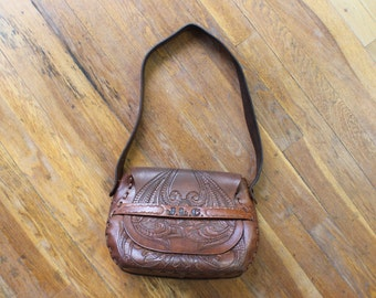 1970'S Tooled Leather Handbag / Tooled Brown Leather Satchel / Floral Southwestern Purse