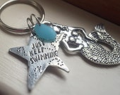 Mermaid Just Keep Swimming Motivational Keychain Recycled Sea Glass Star Pewter Key Ring Sea Ocean Gift