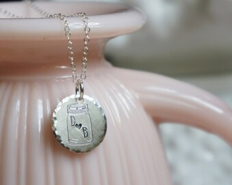 Initial Necklace Mason Jar Heart Country Summer Jewelry Letter Anniversary Baby Gift for Mom Personalized