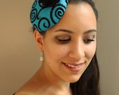 Pin-Up Style, Black and Blue Sparkly Swirl, Felt Fascinator Cocktail Hat - Womens Headpiece