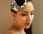 Pin-Up Style, Black and White Sparkly Swirl, Felt Fascinator Cocktail Hat - Womens Headpiece