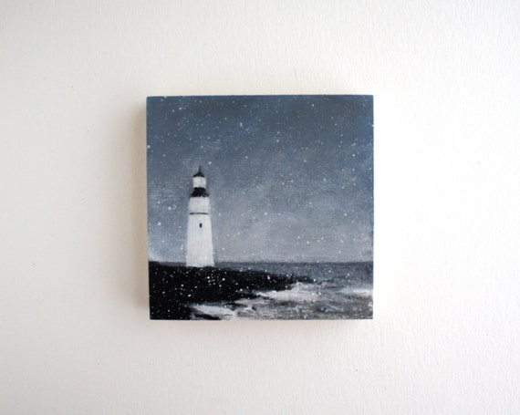 Lighthouse Oil Painting - 4 x 4