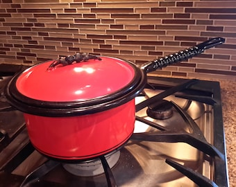 KOOK KING WARE by Vollrath Bright Flame Red Orange Large Sauce Cooking Pan Enamelware 1930's Gorgeous Condition