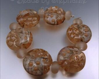 PEACH - Lampwork Lentil Bead Set - Handmade by Stephanie Gough SRA