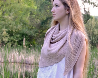 Shawl Knitting PATTERN PDF, Knitted Shawl Pattern,  Summer, Linen Shawl - Thoreau's Pond Shawl