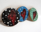Heart magnets, hand painted, set of 3, fridge magnets, polka dot decor, kitchen decor, housewarming gift, mixed media art, tiny original art