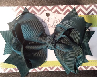 "Large 5"" Boutique Forest Green Hair Bow"