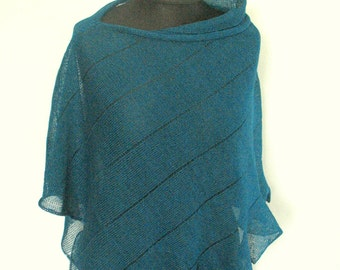 Linen Shawl Cape Clothing Blue Green Light Stripes Striped / Clothing For Women