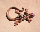 Cast Iron Gecko / Lizard / Home Decor / Garden Decor / Brown / Teal / Purple / Southwest Gecko