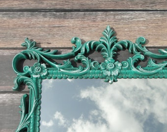 Large Ornate Vintage Gothic Mirror Antiqued Turquoise Blue Green Hollywood Regency Paris Apartment French Country Romantic