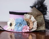 Mini Top Hat  Alice in Wonderland  Inspired - Tea party Hat - First Birthday - Steampunk Hat - Pink Mini Hat