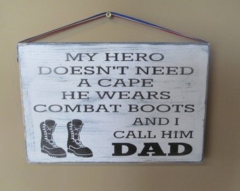 Distressed wood sign with soldier saying in vinyl.