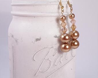 Champagne glass pearl and Swarovski dangle earring