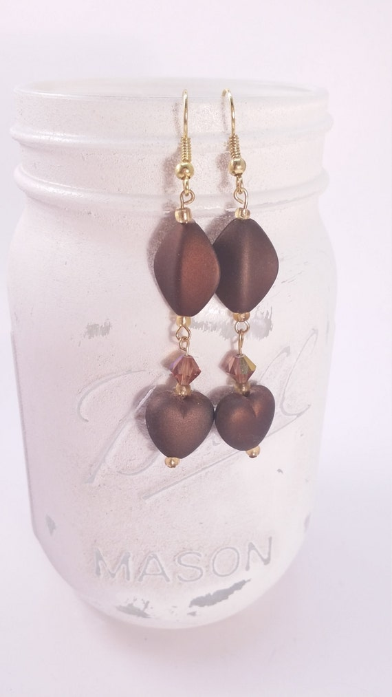 Chocolate Love long dangle earrings, amber colored crystals, date night earring, brown and gold tone
