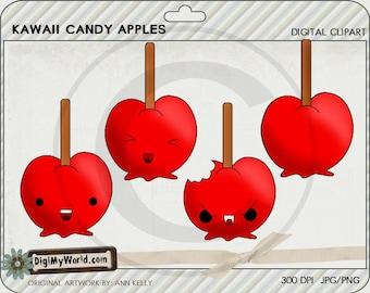 Kawaii style candy apples for halloween or fall cute face apple clipart