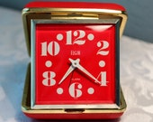 Vintage Red Elgin Travel Alarm Clock-Hands Glow in Dark-Works