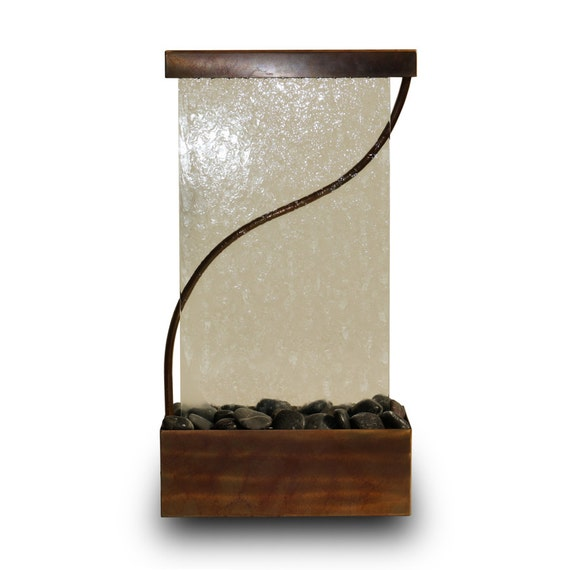Beautiful Tabletop Waterfall Fountain  - Indoor or Outdoor Glass and Stainless Steel Water Feature With Copper Patina