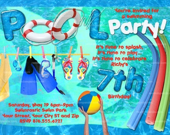 Printable Swimming Pool invitation, Pool Party, Pool Party Invite
