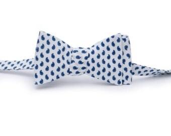 Blue & White Paisley Bow Tie