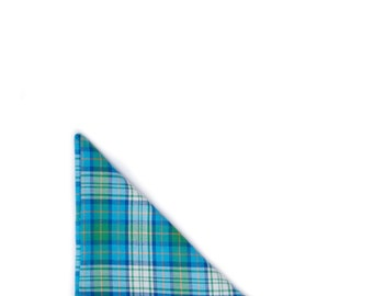 Green & Turquoise Blue Plaid Pocket Square