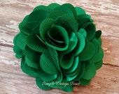 "Emerald Hair Flower - Emerald Flower Clip - Hair Clip or Brooch - 3"" OLIVIA FLOWER - Satin Hair Flower - Green Hair Flower - Hair Flower"