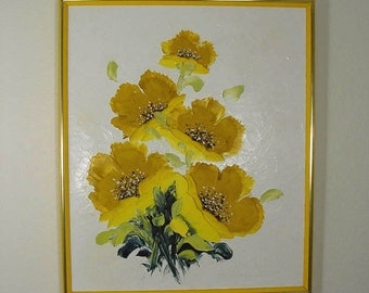 MOD 3D Mid Century Sculptured Yellow Poppies Oil Painting