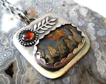 Graveyard Point Plume Agate and Nevada Black Jade Doublet Pendant in Sterling Silver with Golden Amber Flower Necklace Jewelry