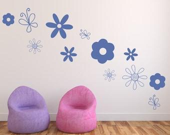 Flower Doodle Decals - Flowers and Butterflies Variety Set of 12 Vinyl Decals - Girls Room Decor - Butterfly Decals - Butterfly Decals 22517