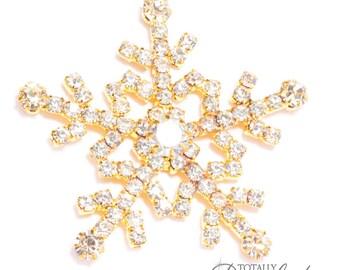 60pcs Wholesale Rhinestone Snowflakes, Crystal Snowflakes Winter Wedding DIY Embellishment, Flat Back 542-G