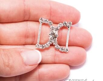 70pcs Rhinestone Buckles, Wholesale Rhinestone Wedding Invitation DIY Craft Supplies Ribbon Slider Diamante Buckles, Buckle 311-S
