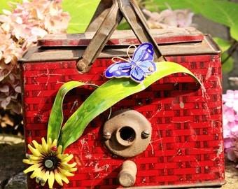 "Birdhouse, Metal Birdhouse, Reclaimed Objects Birdhouse, ""In the Good Ol' Summertime"""