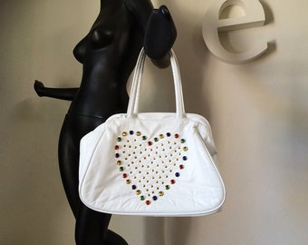 Vintage 80s White Leather Bedazzled Purse Handbag 1980s Heart Studded Purse Tote Bag w Multicolor Domed Cabochon Rhinestones MINT NOS