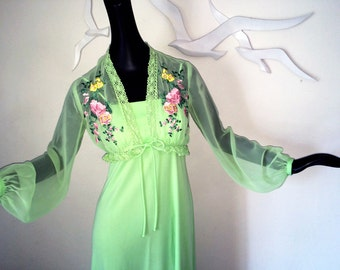 Vintage 70s Prom Dress & Sheer Jacket Mint Lime Green Spaghetti Strap 1970s Hippie Festival Boho Empire Waist Maxi Dress Formal Gown Small