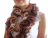CLEARANCE SALE - 50 % OFF - Ruffle scarf - Handmade Knitting  Scarf -  Flamenco Scarf