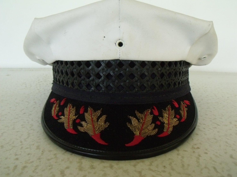 Fireman Captains Uniform Hat Fire Chief White Dress Cap Fire