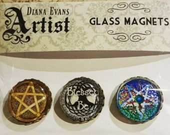 Set of Wiccan Decorative Glass Magnets Wicca Pagan Witch Witchcraft Pentagram Blessed Be