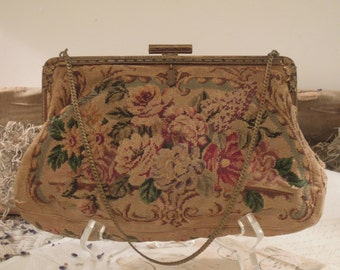 Vintage / Antique Tapestry Purse / Petit Point Style / French Handbag