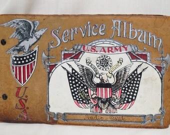 Vintage WWII Souvenir Photo Autograph Album US Army Service Album Indio California Unused Suede Leather Eagle Flag Shield