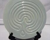 Blue Finger Labyrinth, Meditation Labyrinth, Tabletop Labyrinth, Meditation table Labyrinth, Ceramic Labyrinth, Clay Meditation Labyrinth
