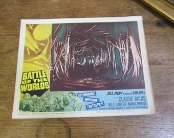 An Original Vintage Theatrical Movie Lobby Card  Battle Of The Worlds. Theatre poster. 1963 Claude Rains Movie. limited edition 63 of 76