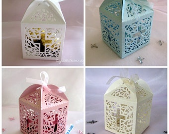 1 Sample Box, White, Pink, Blue, Ivory Holy Cross Favor Box for Christening Favors, Baptism Party, First Communion Celebration