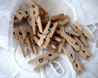 50 MINI Natural Wooden Clothespins for Wedding Favors, Scrapbooking, Party Favors, Embellishment, Gift Tags, 1 inch L
